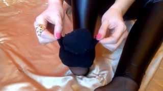 getlinkyoutube.com-Sexy Foot Tease in Black Socks, Shiny Black Wet Look Leggings and Tights/Pantyhose