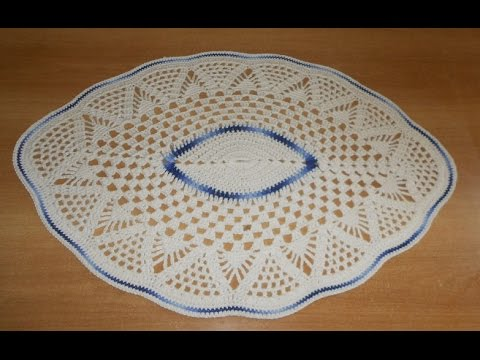 Tapete de Barbante em Croche Oval Azul e Natural parte 1  - crochet rug - alfombra de ganchillo