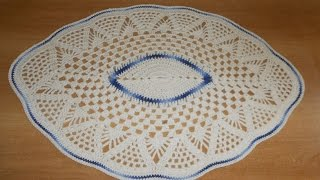 getlinkyoutube.com-Tapete de Barbante em Croche Oval Azul e Natural parte 1  - crochet rug - alfombra de ganchillo