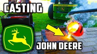 Casting Brass Mirror Polished John Deere Logo width=