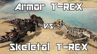 getlinkyoutube.com-ARK: Survival Evolved - Armor T-REX vs Skeletal T-REX - Dino Battle