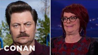 getlinkyoutube.com-Megan Mullally Taught Nick Offerman How To Laugh