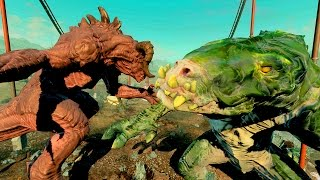 getlinkyoutube.com-GATORCLAW -vs- DEATHCLAW!! Fallout 4 NUKA WORLD WhO iS StROnGeR?? SURPRISING RESULTS! GIANT MONSTERS