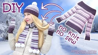 getlinkyoutube.com-DIY NO KNIT Hat, Mittens and Scarf Out Of a Sweater (NO KNIT & NO SEW) – No-knit Knit Kit Tutorial