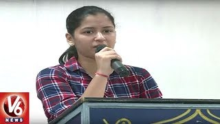 Naina Jaiswal Speech | G Venkat Swamy (Kaka) 88th Birth Anniversary Celebrations | V6 News