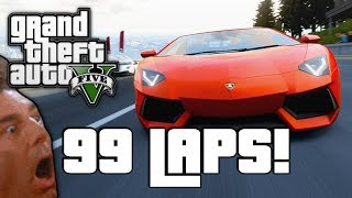 GTA V: 99 LAP RACE! (GTA 5 Online Funny Moments)