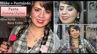 getlinkyoutube.com-👸Maquiagem+Penteado | Festa Junina/Julina | Boca e Olho TUDO por Isis Lesjak