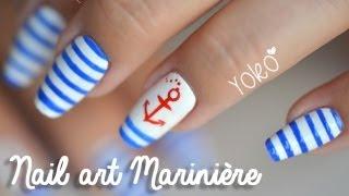 getlinkyoutube.com-Nail art   Mariniere (Navy & Sailor look)