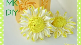 getlinkyoutube.com-Необычная ромашка из атласных лент/Цветок канзаши / A camomile of satin ribbons / Flower kanzashi
