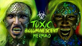 getlinkyoutube.com-TOXIC BIOLUMINESCENT MERMAID | Halloween Makeup Tutorial
