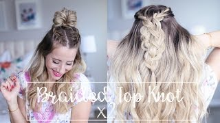 getlinkyoutube.com-Braided top knot, two ways to wear it!