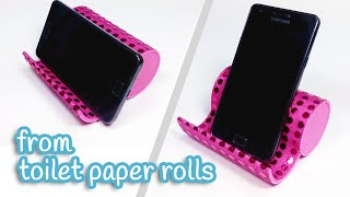 getlinkyoutube.com-DIY crafts: PHONE HOLDER from toilet paper rolls - Innova Crafts