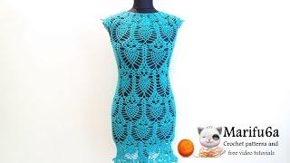 getlinkyoutube.com-How to crochet pineapple dress tunic with owls free pattern tutorial by marifu6a