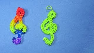 getlinkyoutube.com-Rainbow Loom Charms: TREBLE CLEF (Music) Design on loom / bands