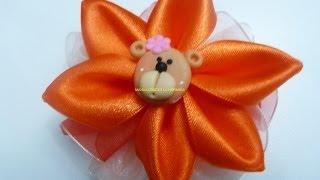 getlinkyoutube.com-moños con flores   faciles en  cinta para el cabello paso a paso. Manualidades la hormiga