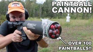 getlinkyoutube.com-Paintball Cannon!  100+ Paintballs per Shot