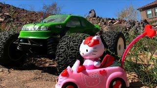 getlinkyoutube.com-Losi LST2 Monster Truck VS. Hello Kitty Remote Control Car Race Review! || Konas Vlog || Konas2002