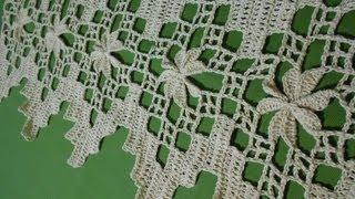 getlinkyoutube.com-Crochet orilla en picos con flor 3 de 4