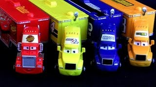 getlinkyoutube.com-4 Pixar CARS Trucks Haulers Mack Hauler Rust-eze, Mood Springs, Octane Gain, Sidewall ToyCollector