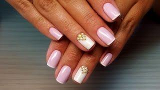 getlinkyoutube.com-Дизайн ногтей гель-лак shellac - Френч + стразы + жемчуг (видео уроки дизайна ногтей)