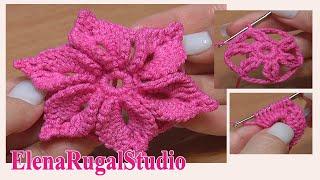 getlinkyoutube.com-Crochet 3D Flower Pattern Урок 46 Вязаный Цветок с лепестками украшенными пико