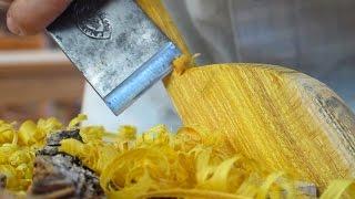 getlinkyoutube.com-Carving A Spatula From An Osage Orange Stump