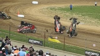 getlinkyoutube.com-SPRINT CARS at Lincoln Park Speedway - Massive Crashes and Close Dirt Track Racing