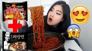 Mukbang  Spicy Black Bean Noodles   Fire Chicken Noodle   Jjajangmyeon 짜장면