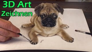 getlinkyoutube.com-3D Malerei - realistische Optische Täuschung/Zeichnung eines Hundes von Stefan Pabst