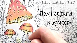getlinkyoutube.com-How I colour a mushroom, (blending colours); Enchanted Forest - Johanna Basford