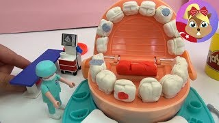 getlinkyoutube.com-Play Doh Diş Doktoru Oyun hamuru oyuncak Türkçe - Doktor oyunu - Diş Yapımı oyun hamuru