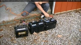 getlinkyoutube.com-Weld with car batteries? Neat trick in a emergency using jumper cables