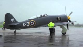 getlinkyoutube.com-Hawker Sea Fury in the rain at RNAS Yeovilton