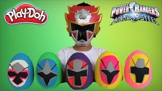 getlinkyoutube.com-Power Rangers Ninja Steel Play-Doh Surprise Eggs Opening Morphing Fun With Ckn Toys