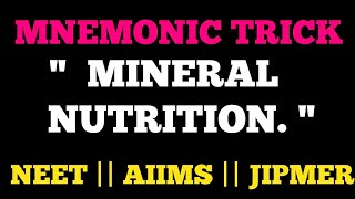 TRICKS FOR MINERAL NUTRITION