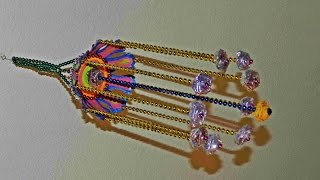 getlinkyoutube.com-Hanging wall craft with bead chains, paper cup and polythene cover roses!