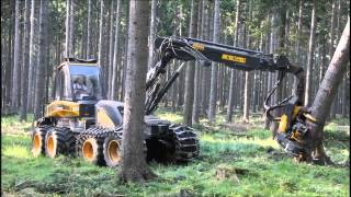 getlinkyoutube.com-Ponsse Ergo 8w Harvester im Starkholz