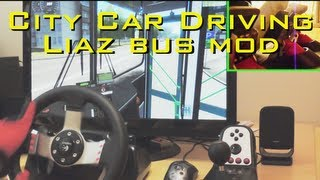 getlinkyoutube.com-City Car Driving LiAZ BUS MOD simulator - G27 pedals fully manual gearbox gameplay demonstration