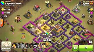 getlinkyoutube.com-Clash Of Clan TH7 vs TH8 clan war Hog Riders strategy (Watch and Learn)