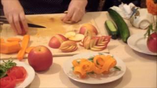 getlinkyoutube.com-Нарезка овощей и фруктов по технологии карвинг. Украшение новогоднего стола