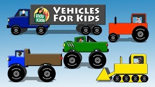 getlinkyoutube.com-Vehicles For Kids - Trucks Tractors Cars Bulldozers Bus