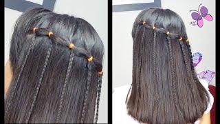 getlinkyoutube.com-Cascada con Banditas Elasticas - Elastic Waterfall   Peinados Faciles y Rapidos   Trenzas y Peinados