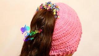 getlinkyoutube.com-كروشية طاقية مفتوحة من فوق  \ طاقية  ذيل الحصان \قناة خيط وإبرة  \ crochet ponytail hats