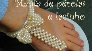 getlinkyoutube.com-Chinelo decorado - Chinelo com manta e laço de pérolas
