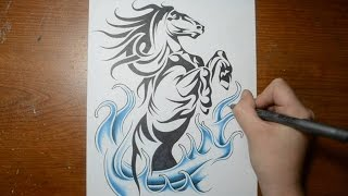 getlinkyoutube.com-Drawing a Cool Rearing Horse - Tribal Tattoo Design Style