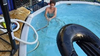getlinkyoutube.com-KIDS swimming with a LETHAL SNAKE in the Pool