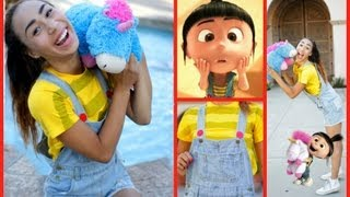 getlinkyoutube.com-D.IY Agnes -Despicable Me Halloween Hair, Makeup, Costume!