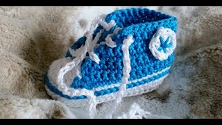 getlinkyoutube.com-Sneakers para bebés - Tejer zapatillas de deporte – Parte 1/5 con subtítulos de BerlinCrochet