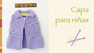 getlinkyoutube.com-Capa con trenza doble tejida en dos agujas para niñas