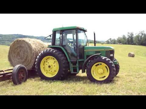John Deere 6400 & 3020 in West Virginia Hauling Hay